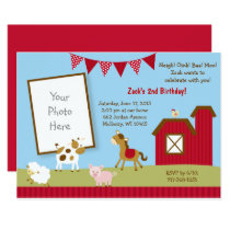 Cute Farm Animal 1st Birthday Card