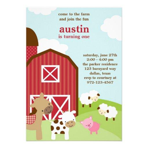 Cute Farm Animal Birthday Invitations Invitation