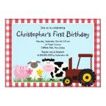 "Cute Farm Animal Birthday Party Invitations 5"" X 7"" Invitation Card"