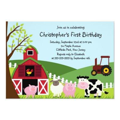 Cute Farm Animal Birthday Party Invitation | Zazzle.com