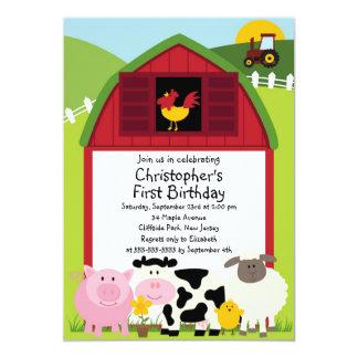 Cute Farm Animal Birthday Party Invitations