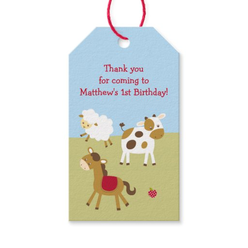 Cute Farm Animal Party Favor Tags