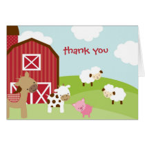 Cute Farm Animal Thank You Card