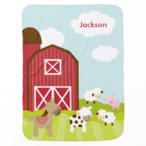 Cute Farm Animals and Barn Baby Blanket