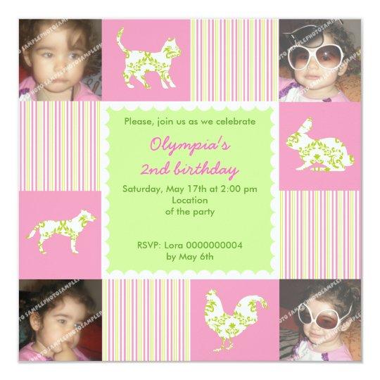 Cute farm animals and stripes birthday invitation