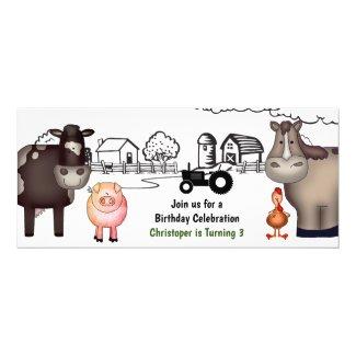 Cute Farm , Animals and Tractor Birthday Invitation