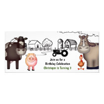 Cute Farm , Animals and Tractor Birthday Invitation