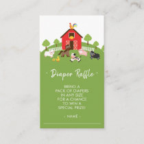 Cute Farm Animals Baby Shower Diaper Raffle Ticket Enclosure Card