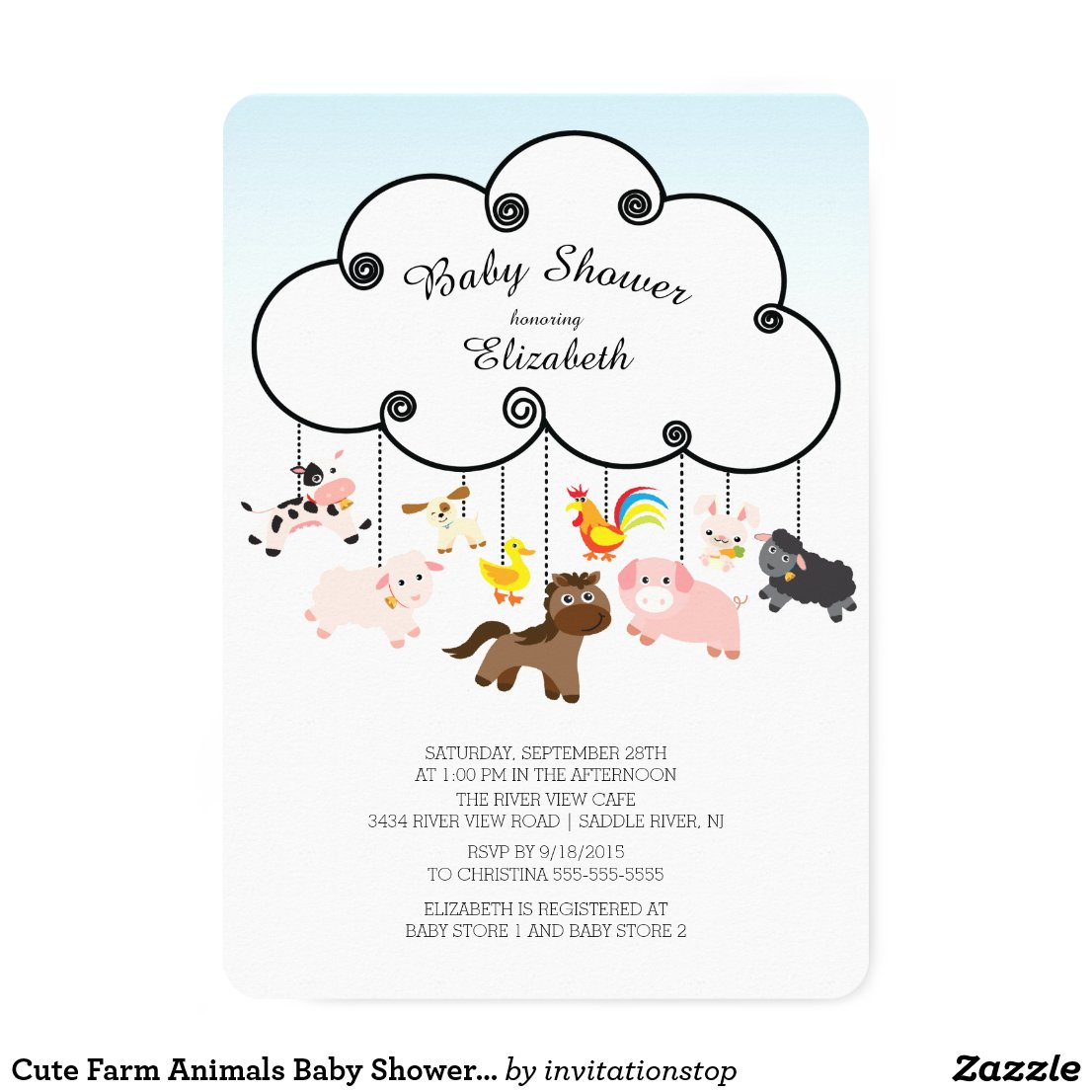 Cute Farm Animals Baby Shower Invitations