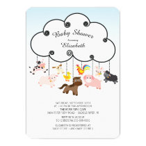 Cute Farm Animals Baby Shower Invitations