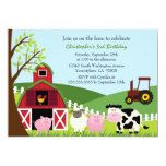 "Cute farm animals barn birthday party invitation 5"" x 7"" invitation card"