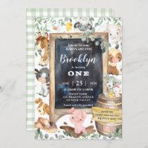 Cute Farm Animals Barnyard Chic Greenery Birthday Invitation