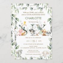 Cute Farm Animals Barnyard Greenery 6th Birthday  Invitation