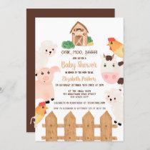 Cute farm animals barnyard neutral baby shower invitation