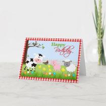 Cute Farm Animals Birthday Greeting Card