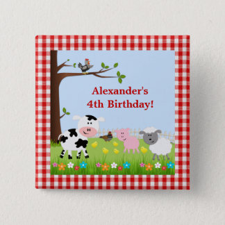 Cute Farm Animals Birthday Party Button