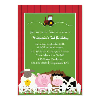 Cute farm animals birthday party invitation
