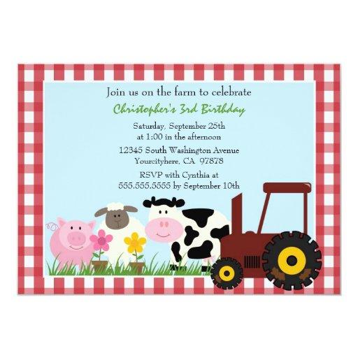 "Cute farm animals birthday party invitation 5"" x 7"" invitation card"
