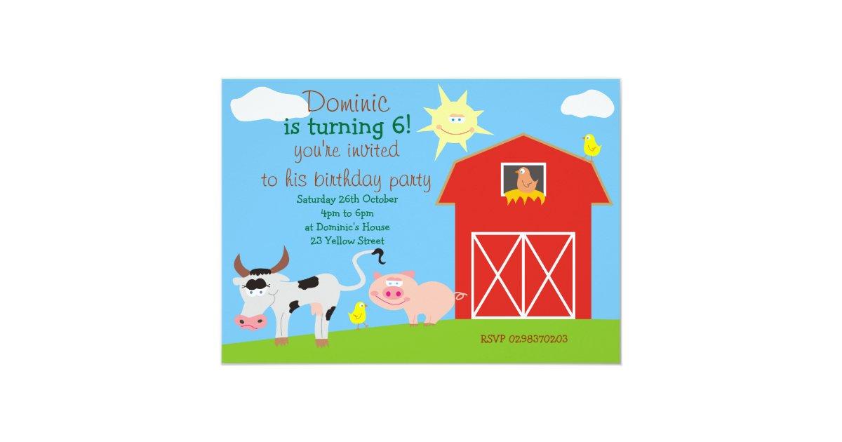 Cute Farm Animals Birthday Party Invitations   Zazzle.com