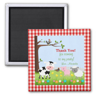 Cute Farm Animals Birthday Party Magnet