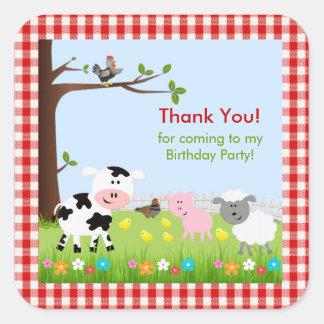 Cute Farm Animals Birthday Party Sticker