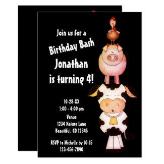 Cute Farm Animals Cow, Pig, Rooster Birthday Invitation