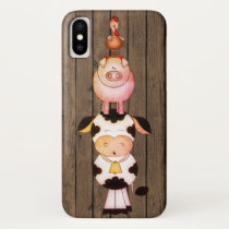 Cute Farm Animals Cow, Pig, Rooster on Barn Wood iPhone X Case