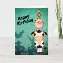 Cute Farm Animals Cow, Pigs and Roosters Birthday Card