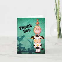 Cute Farm Animals Cow, Pigs and Roosters Thank You Card