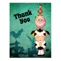 Cute Farm Animals Cow, Pigs and Roosters Thank You Postcard