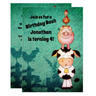 Cute Farm Animals Cow, Pigs, Roosters Birthday Invitation