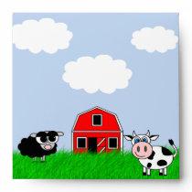 Cute Farm Animals Custom Invitation Envelope