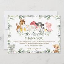 Cute Farm Animals Greenery Baby Shower Birthday Thank You Card