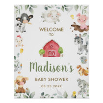 Cute Farm Animals Greenery Baby Shower Welcome  Poster