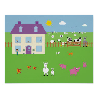 Cute Farm Animals & House Poster