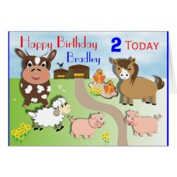 Cute Farm Animals Kids Birthday Card