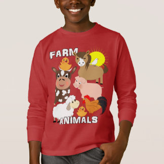 Cute Farm Animals Kids Whimsy Graphic T-Shirt