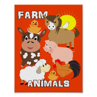 Cute Farm Animals Kids Whimsy Picture Poster