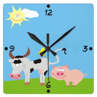 Cute Farm Animals Numbers Kids Wall Clocks