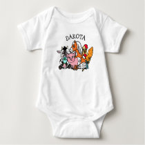 Cute Farm Animals Personalized Baby Bodysuit