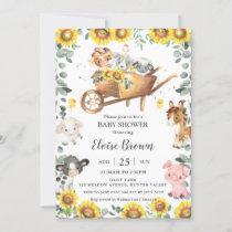 Cute Farm Animals Sunflower Greenery Baby Shower   Invitation