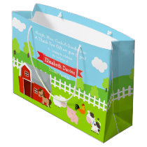 Cute Farm Animals Thank You Large Gift Bag