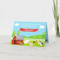 Cute Farm Animals Unisex Birthday Card