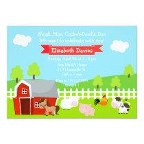 Cute Farm Animals Unisex Birthday Party Card