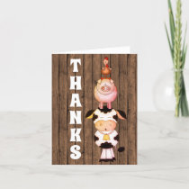 Cute Farm Animals with Barn Wood Background Thanks Thank You Card