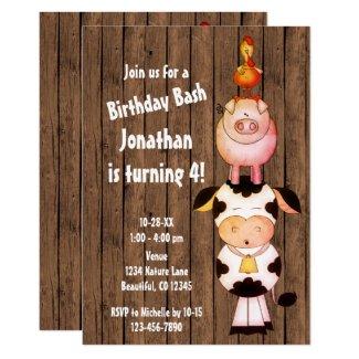Cute Farm Animals with Barn Wood Birthday Invitation