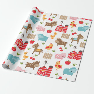 Cute Farm Animals Wrapping Paper