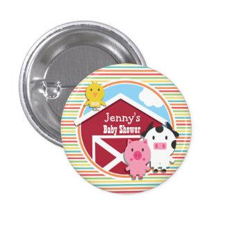 Cute Farm Baby Shower, Bright Rainbow Stripes Pinback Button