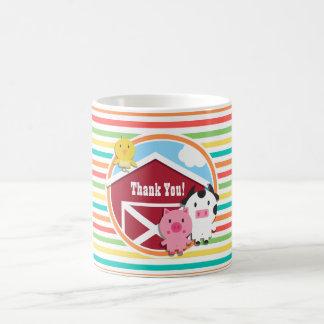 Cute Farm Baby Shower, Bright Rainbow Stripes Classic White Coffee Mug