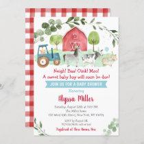Cute Farm Greenery Baby Shower Invitation